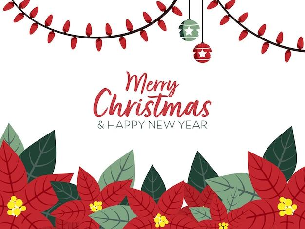 ポインセチアの花の枝と装飾的な妖精のライトとクリスマスバナー