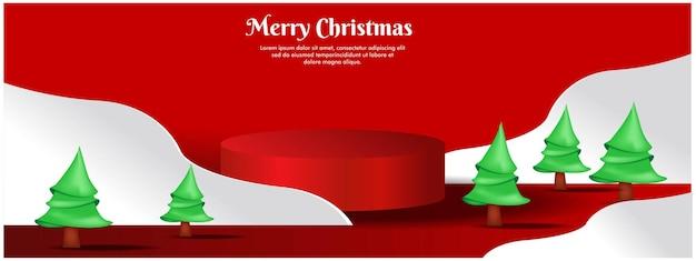 제품 디스플레이가 있는 크리스마스 배너