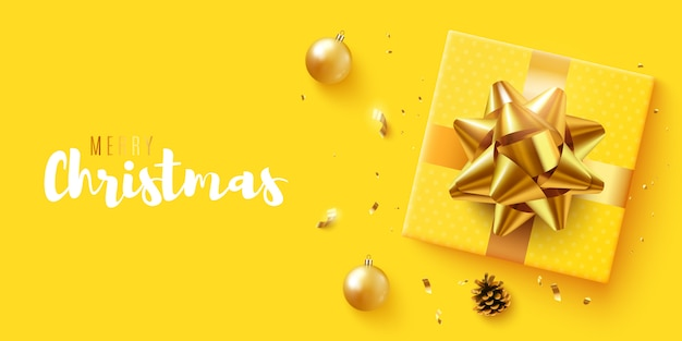 Christmas banner. with realistic gifts box, glitter gold confetti. horizontal