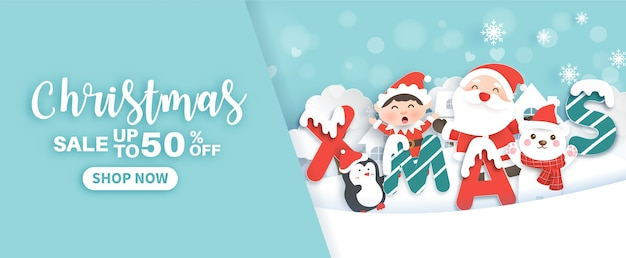 Christmas banner with a santa clause and christmas elements in the snow village paper cut and craft style.