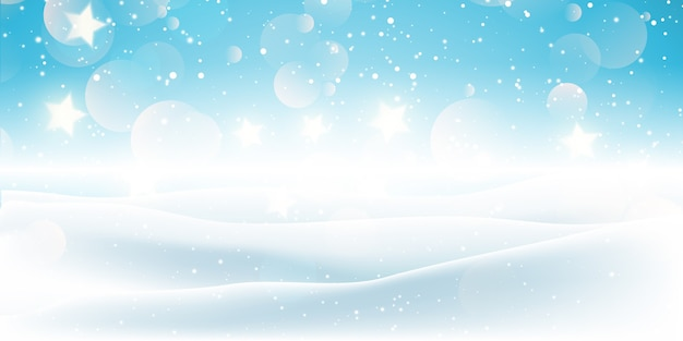 Christmas banner with a snowy landscape design