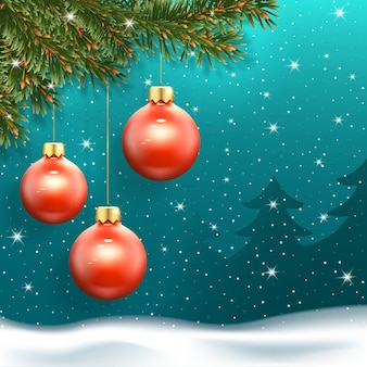Christmas banner with three red balls, falling snow and fir trees in the background.