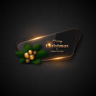 Christmas banner with transparent glass and glowing lights. black background, decorative pine branches, gold balls, pine cones. merry christmas and happy new year gold text.