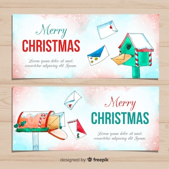 Christmas banner with watercolor style mail