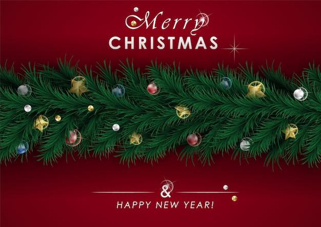 クリスマスバナー、クリスマススパークリングライトガーランド。カットアウトの金箔の星と銀の雪片。