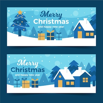 Рождественские баннеры концепция в плоском дизайне