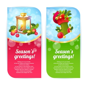 Christmas banners fwith woolen stocking and candle lantern