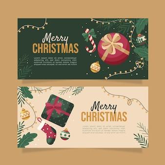 평면 디자인에 크리스마스 배너