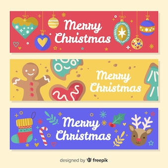Christmas banners in flat style