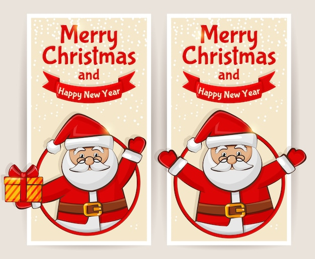 Christmas banners o cards with santa claus set