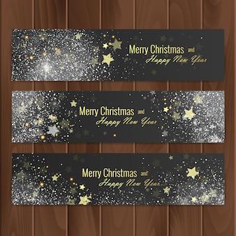 木の基板に設定されたクリスマスバナー