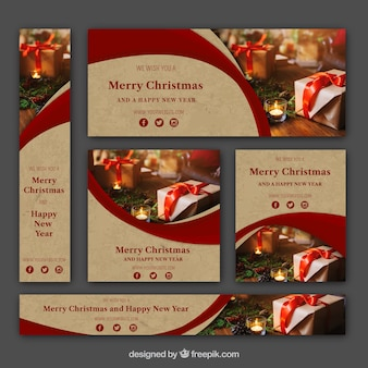 Christmas banners set in vintage style