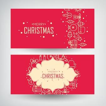 雪だるま、花輪、キャンドル、伝統的な休日の要素を描画して設定されたクリスマスバナー