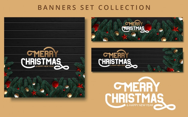 Christmas banners set with fir branches decorated with ribbons