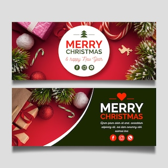 Christmas banners template with photo