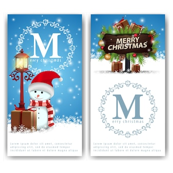 Christmas banners templates with snowman and wooden pointer