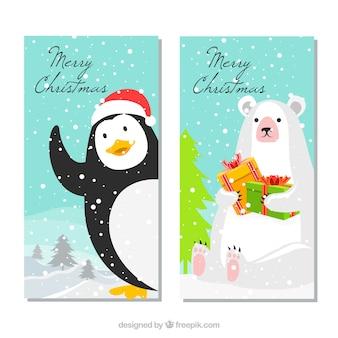 Рождественские баннеры со смешным пингвином и белым медведем