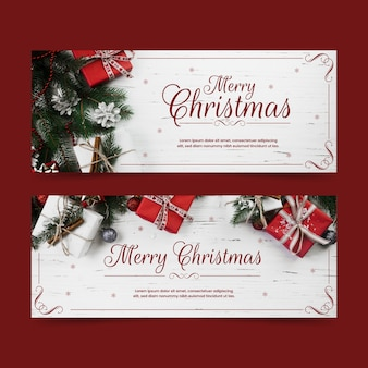 Christmas banners with gift boxes