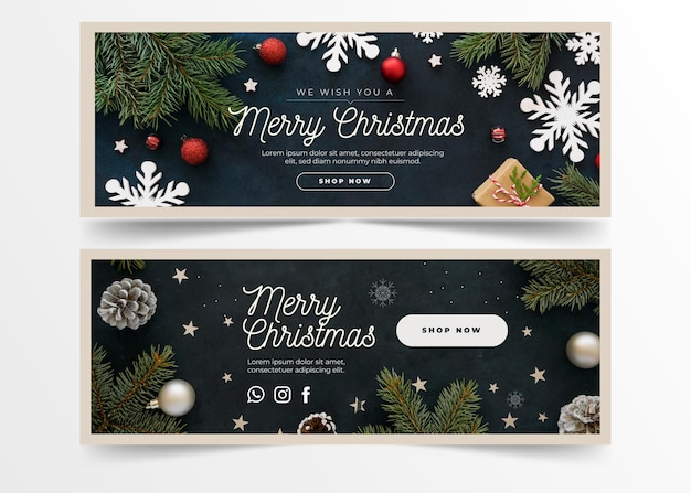 Christmas banners with greeting