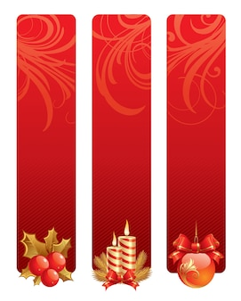 Christmas banners with holiday symbols