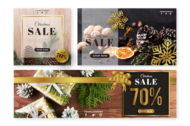 Christmas banners with photo pack