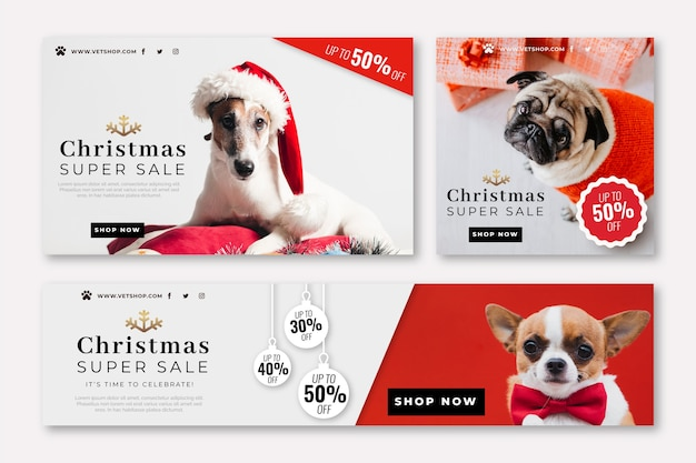 Christmas banners with photo set