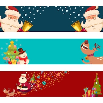 Christmas banners with santa claus, reindeer, snowman and tree  set  on a white background.