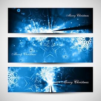 Рождественские баннеры с блестящими голубыми звездами