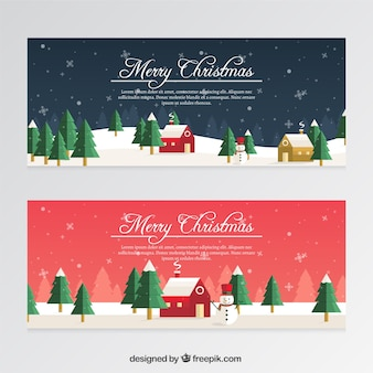 Christmas banners with snowmen and snowflakes in flat style