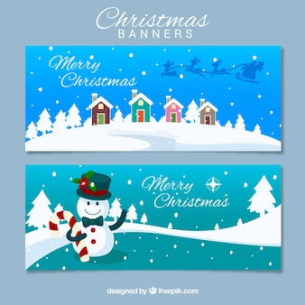 Christmas banners with snowy landscapes Free Vector