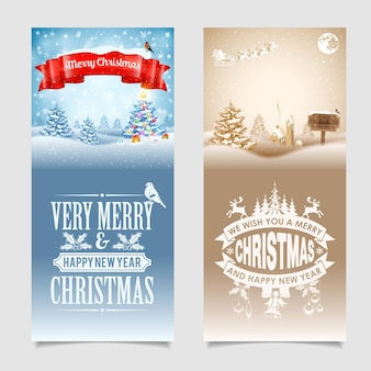 Christmas banners with tree, gifts, ribbon, labels, wood sign, santa and bullfinch on snowy background. vector template for cover, flyer, brochure, greeting card.