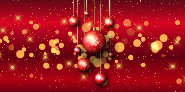 Christmas bauble banner with bokeh lights