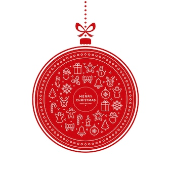 Элементы иконки рождественские безделушки красный белый фон