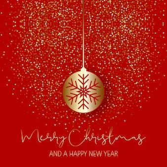 キラキラの背景にクリスマスのbauble