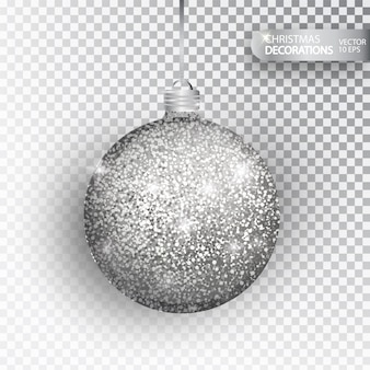 Christmas bauble silver glitter isolated on white. sparkling glitter texture bal, holiday decoration. stocking christmas decorations. silver hanging bauble.