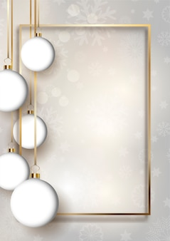 Christmas baubles background with gold frame and snowflakes design