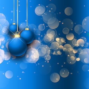 Christmas baubles on bokeh lights background