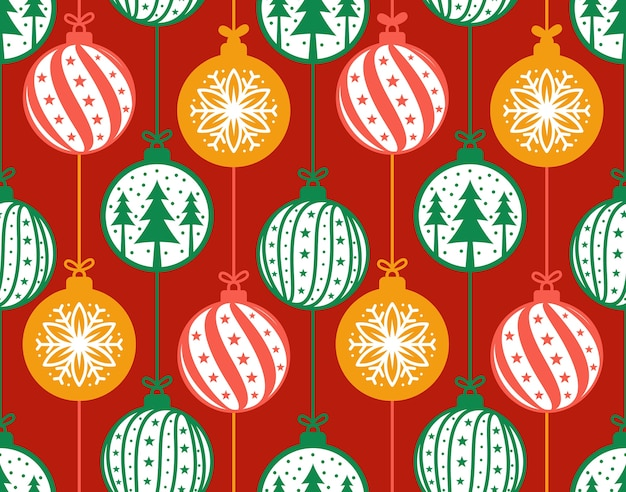 Christmas baubles decoration seamless pattern vector