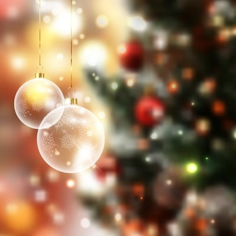 Christmas baubles on a defocussed background