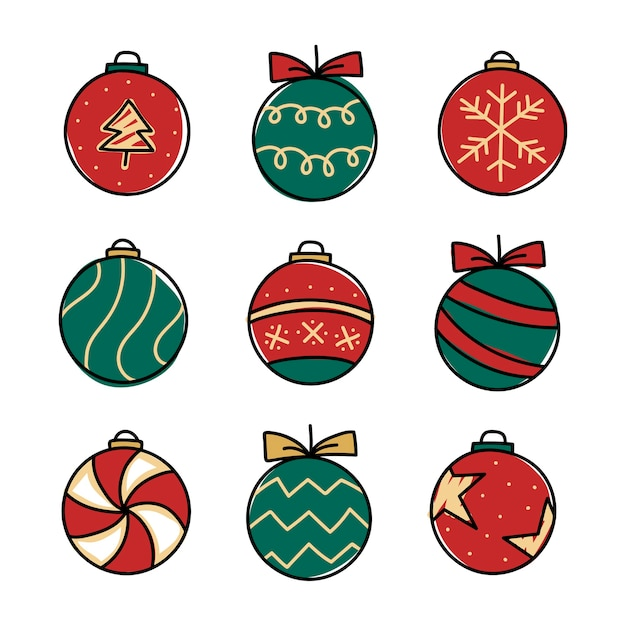Christmas baubles drawing doodle style