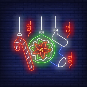 Christmas baubles neon sign