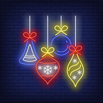 Christmas baubles in neon style