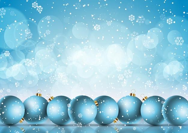Рождественские шары на фоне снежинки