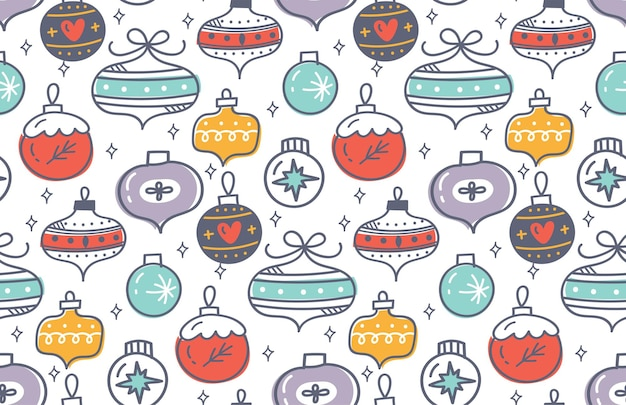 Christmas baubles seamless pattern