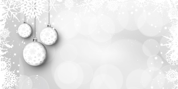 Christmas baubles and snowflake banner design