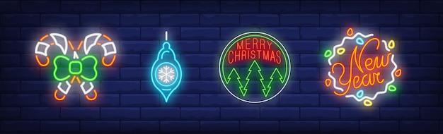 ネオンスタイルで設定されたクリスマスつまらないシンボル