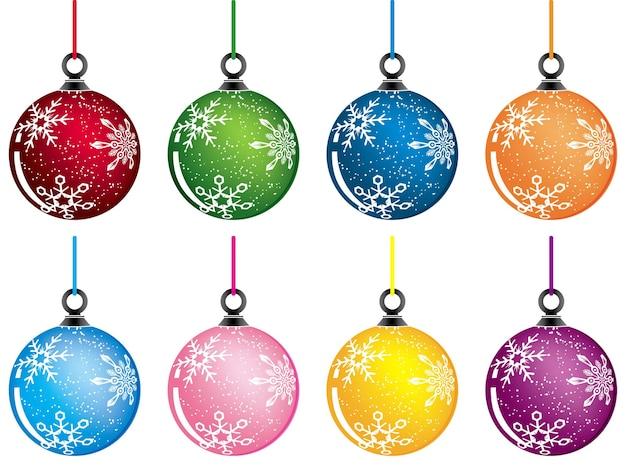 Рождественские шары, варианты цвета, векторные иллюстрации