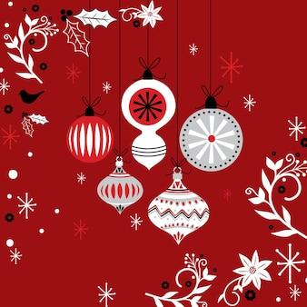Рождественские шары с украшением рождественского орнамента на красном фоне, векторные иллюстрации