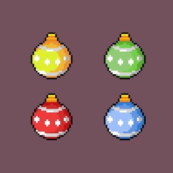 Рождественские шары в стиле пиксель-арт