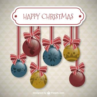 Christmas baubles with ribbons card